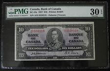 Scarce 1937 Bank of Canada $10 note, Osbourne-Towers, better signature, PMG VF30