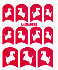 Nail Art Decal Stencil Stickers Schnauzer Dogs XF.M023