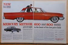 1960 two page magazine ad for Mercury - 1961 Meteor 600 & 800, colorful ad