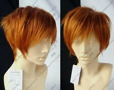 New Fashion Short Orange Gold Blonde Straight Cosplay Party Anime Wig