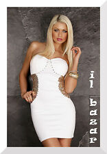 vestito donna sexy mini abito corto bianco paillettes &strass  tg. u