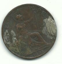 High Grade Details 1895 Great Britain English Penny Cent-Mar687