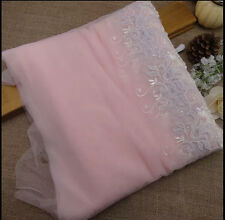 1Yard 24CM wide France pink, embroidered lace trim