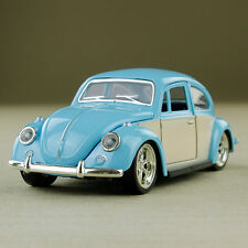 1967 Classic Volkswagen Beetle Diecast 1:32 Scale Pullback Chrome Blue Cream