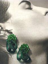 ORECCHINI A CLIP PERLINE GOCCE VERDI PLASTICA ANNI 70 vintage earrings J8