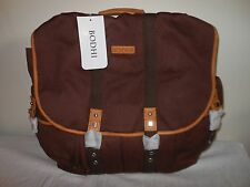 BODHI HANDBAGS Brown Canvas Leather Trim Laptop Backpack New with Tags
