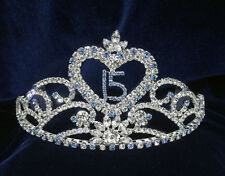 Crystal Rhinestones Sweet 15Quinceanera w/Combs.Tiara.Blue.3.25 Inches Tall