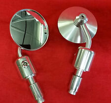 CAFE RACER ROUND BAR END MIRRORS IN POLISHED ALLOY CNC MACHINED