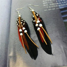 Tassel Dangling Earrings Feather Leather Beads Earrings Indian Feathers @C