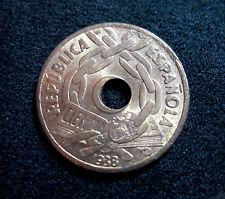 Moneda España 25 centimos año 1938 II Republica SIN CIRCULAR / UNC Error agujero