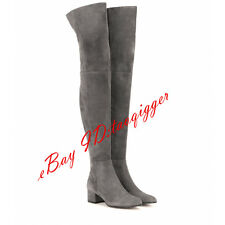 sexy womens suede slouch over knee high boots low cuban heel thigh high boots sz
