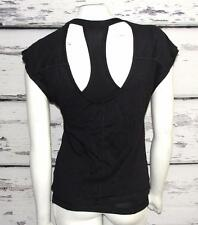 LUCY ACTIVEAR~BLACK~STRETCH *OPEN BACK TEE* DOUBLE LAYER TANK TOP~XS (RARE)