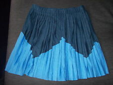 M&S LtdCol Elasticated Waist All-Round Soft Pleat Skirt 9-10y 140 Blue Mix BNWT