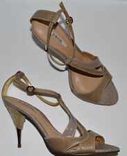 DUMOND NEW SZ 8 M BROWN TAUPE LEATHER SANDALS HEELS