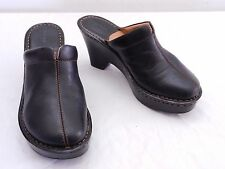 Used Womens 7 BORN Black Leather Top Seam Wedge High Heel Slide Mule Clogs Shoes