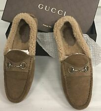GUCCI SHEARLING SUEDE DRIVING MOCCASIN LOAFER w HORSEBIT 40 US 9 $650!