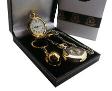 FIREFIGHTER 24ct GOLD POCKET WATCH and Helmet FIREMAN FIRE & RESCUE BRIGADE GIFT