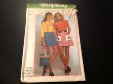 VINTAGE SIMPLICITY #9831 NEW UNCUT PATTERN FOR MISSES SIZE 6P MINI SKIRT AND BAG