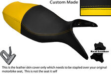 BLACK & YELLOW CUSTOM FITS BMW R 1100 S 98-05 DUAL LEATHER SEAT COVER