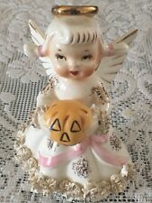 Vintage Lefton  October Angel Figurine Holding A Pumpkin Japan