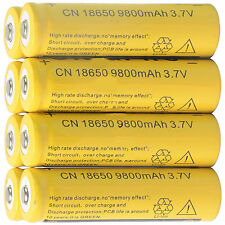 8pcs 18650 3.7V 9800mAh Yellow Li-ion Rechargeable Battery Cell For Torch EKOI