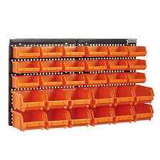 VonHaus 30pc Wall Mount Panel DIY Garage Shelving Organiser Storage Bin Rack Set