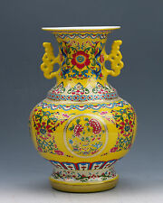 Chinese Collection Colourful Porcelain Hand Painted Vase w Qianlong Mark G016