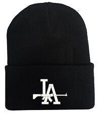 LA DODGERS WITH SHOT GUN LOGO BEANIE HAT WINTER CAP