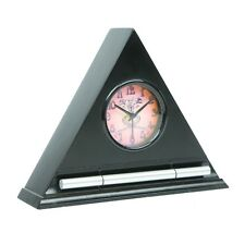 Now & Zen Triangle Analog Alarm Clock - Wood - Ebony / Black