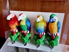 SET OF FOUR BUTTER CHEESE SPREADERS BIRD PARROTS COLORFUL APPETIZERS SERVING