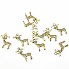 Wholesale x 10 reindeer charms 2cm Christian pendants Christmas winter xmas
