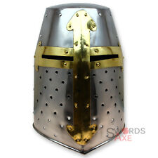 Crusader Great Helm Medieval Knights Templar Helmet Armor - Carbon Steel Forged