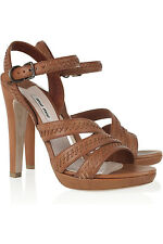 MIU Miu whipstitched tan leather sandals new in box 7.5 eu40.5 us10.5 brown heel