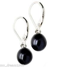 Fashion 7-8mm Black Freshwater Pearl Silver Leverback Hook Earrings
