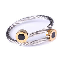 316L Stainless Steel Twist Cable Bangle Adjustable Bracelet with  Enamel
