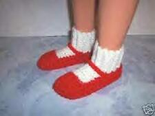 Red Hand Crochet Slipper Socks Shoes For The My Size Barbie Doll