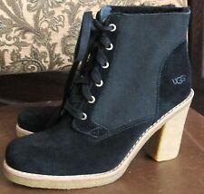 UGG Lace Up SOFIA  Black Suede Boots $200 Sz. 8.5M NWOB WOW!