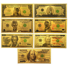 7Pcs Usa Gold Foil Dollars $100/50/20/10/5/2/1 Home Decoration Collections Arts