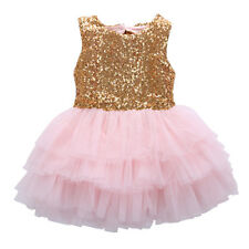 Princess Kids Baby Girl Sequins Dress Bowknot Backless Party Gown Formal Dresses