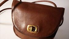 NINE WEST NW Crossbody Bag SADDLE BROWN GENUINE LEATHER Turnlock Pouch HTF
