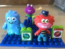 "MEGA BLOKS Moshi Monsters Lot 3 Sets Red Blue Purple 2"" Miniature Figure EUC"