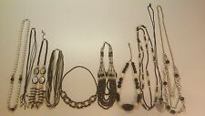 Black & White Necklaces 10 LOT Beaded Glass Pendant Tribal Seed Bead MOP More