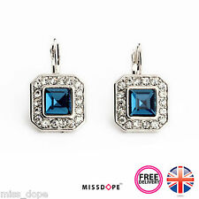 NEW BLUE SQUARE GEOMETRIC RHINESTONE CRYSTAL DROP EARRINGS WOMENS LADIES STUD UK