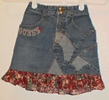 PATCHWORK STYLE GUESS SKIRT 6X Red rose fabric 6 years old kids girls skirt