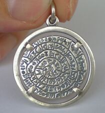 Phaistos Disk X-Large Pendant - Sterling Silver- Minoan Period-High Quality Item