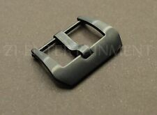 24MM Pre-V Screw Buckle For Panerai Watch Leather Rubber Strap Black Brushed