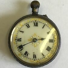 Lovely Antique Solid Silver Hallmarked Swiss Pocket Fob Watch Not Working A/F