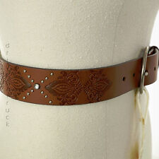 SONOMA MEDIUM Damask Print TAN BELT Faux Leather SILVER Tone STUDS Faux CRYSTALS