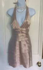 BCBG MAXAZRIA Nude Satin Party Halterneck Cocktail Dress Size US4, EU 36, UK 8