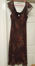 Jones New York Womans Plus 100% Silk Brown/Red/Blue/Purple Floral Dress Size 18W